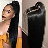 Allrun Hair Human Hair Lace Front Wig 4×4 Lace Front Wig Brazilian Straight Human Hair Lace Front Wigs with Baby Hair for Women 150% Density Natural Color(16inch)