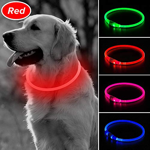 BSEEN LED Dog Collar, USB Rechargeable Glowing Pet Collar, TPU Cuttable Dog Safety Lights for Small Medium Large Dogs ()