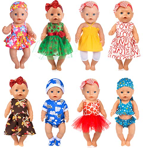 ebuddy 8 0utfits Doll Clothes Change Show, Fits for 43cm New Born Baby Doll/15 inch Dolls/18 inch Dolls