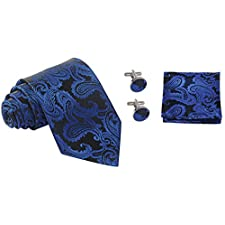 Coxeer Men's Paisley Prom Necktie Hanky Sets for Wedding Graduation Party ,Neckties+pocket Square+Cufflinks,as Gift for Men