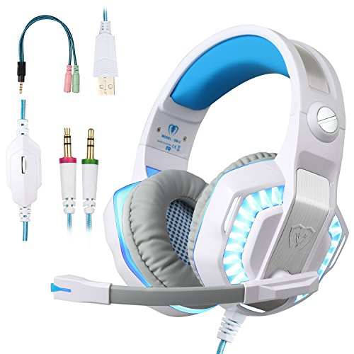 BlueFire Gaming Headset 3.5mm Stereo Over-ear Headphone with LED Lighting for PC Computer Games With Noise Isolation & Volume Control (White)