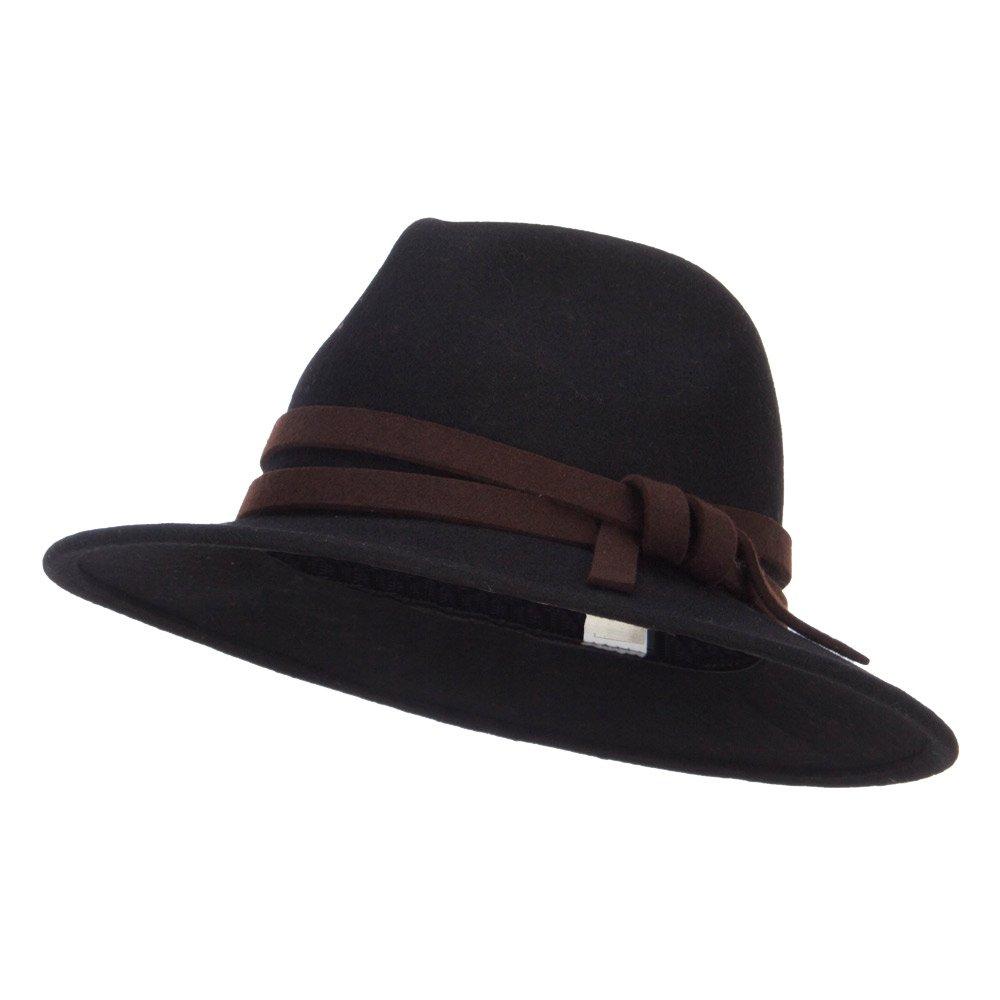Jeanne Simmons Women's Double Tie Accent Outback Felt Hat - Black OSFM