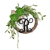 FAVOWREATH 2018Vitality Series FAVO-W102 Handmade 13 inch Green Succulent Plants,R Letter Grapevine Wreath for Fall Festival Front Door/Wall/Fireplace Every Day Nearly Natural Home Hanger Decor
