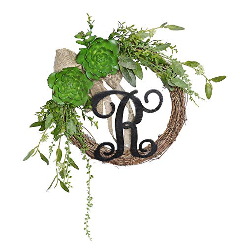 FAVOWREATH Vitality Series FAVO-W102 Handmade 13 inch Green Succulent Plants,R Letter Grapevine Wreath for Summer/Fall Festival Front Door/Wall/Fireplace Every Day Nearly Natural Home Hanger Decor by FAVOWREATH