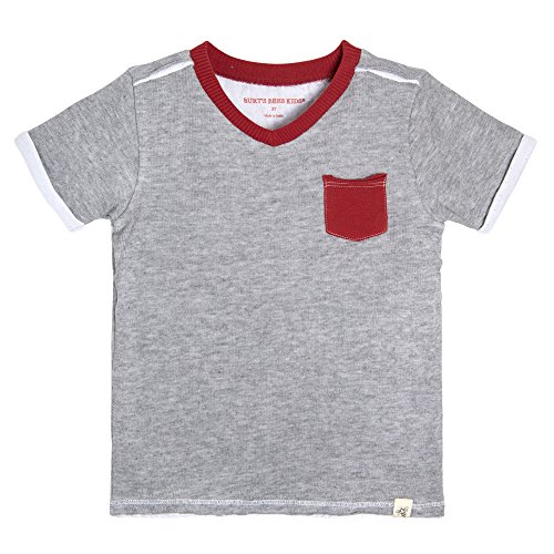 - Burt's Bees Baby Baby Boys' Little Kids T-Shirt, Short Sleeve V-Neck and Crewneck Tees, 100% Organic Cotton, Grey/Red Pocket, 6 Years