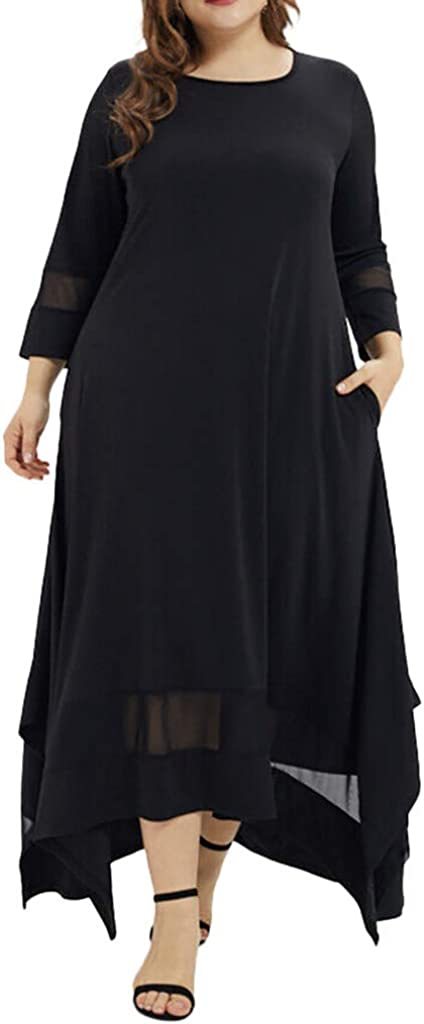 H.eternal Womens Plus Size Loose Long T-Shirt Muslim Dress Short Sleeve Swing Dress Cocktail Formal O-Neck Three Quarter Sleeve Skirt Solid Color