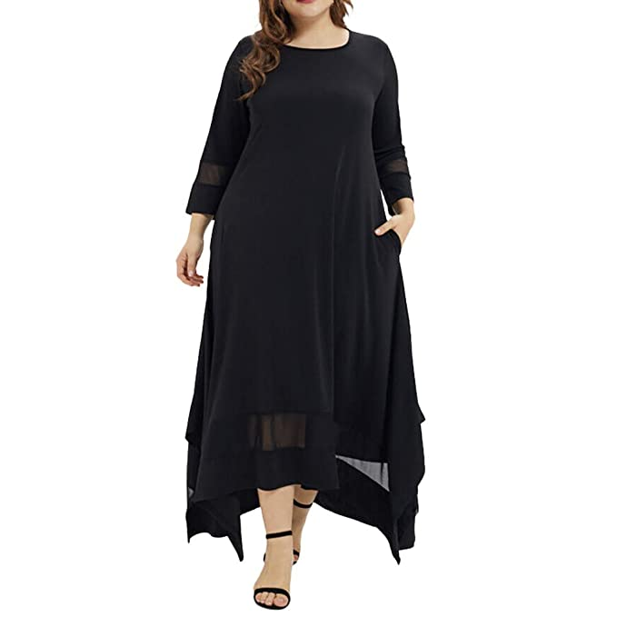refulgence Women Plus Size Dresses for Special Occasion WSolid O-Neck Three  Quarter Sleeve Muslim Long Party DressRed