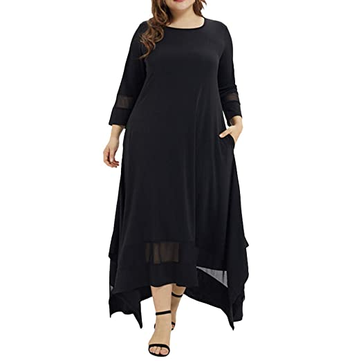 a14615d2c030 Twinsmall Womens Plus Size Muslim Dress Solid O-Neck Three Quarter Sleeve  Backless Beach Long