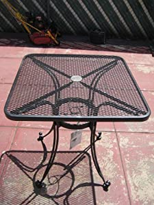 Delightful Carolina Forge Pinecrest Square Mesh Wrought Iron Bistro Table