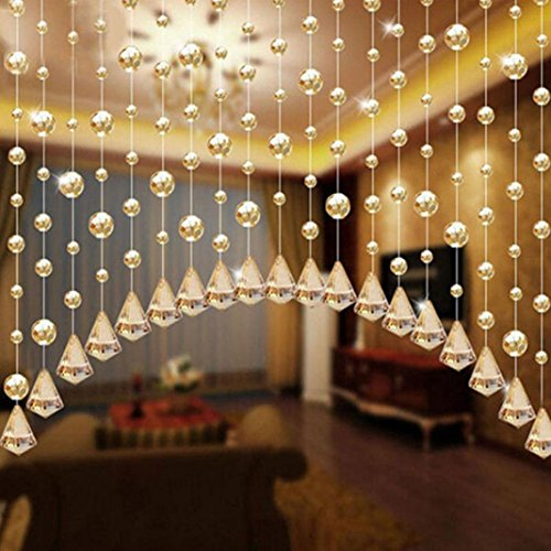 1 Meter Glass Beads Drapes Partition Wedding Backdrop Hanging Curtain Beaded String Curtain Door Divider Blind Tassel Screen for Home Hotel Wedding Backdrop Decoration (Champagne) ()