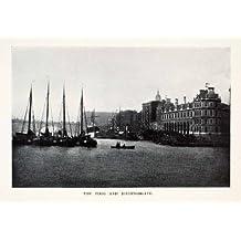 1905 Halftone Print Billingsgate London England Thames River Architecture Boats - Original Halftone Print