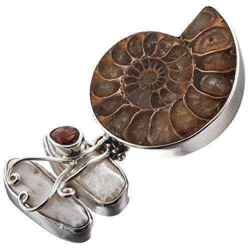 Ammonite Fossil Sterling Silver Pendant (Ammonite Fossil Freshwater Stick Cultured Pearl Garnet 925 Sterling Silver Pendant, 2 3/16