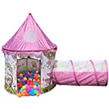 Designer Princess Castle Play Tents for Girls w/ Sunroof & Tunnel - Unique Pop Up Kids Play Tent for Indoor & Outdoor Use - Beautiful Fairy Princess Castle Tent w/ Case *TUNNEL DOES NOT ATTACH*