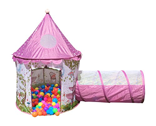 Designer Princess Castle Play Tents for Girls w/ Sunroof & Tunnel - Unique Pop Up Kids Play Tent for Indoor &