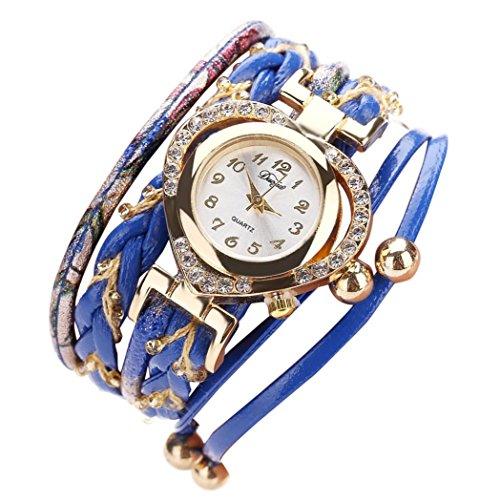 Hunputa Fashion Faux Leather Band Diamond Heart Beads Winding Analog Quartz Movement Wrist Watch for Women Gift (Blue)