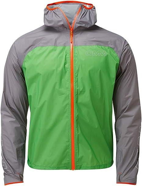 OMM Mens Halo Jacket Top Blue Grey Sports Running Half Zip Hooded Waterproof