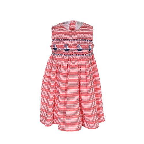 - Girls Dress Red Striped Smocked Sailboats Sleeveless Dress Nautical