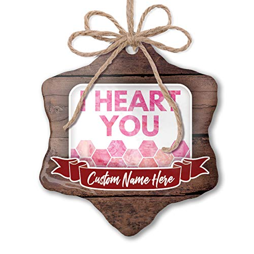 NEONBLOND Custom Family Ornament I Heart You Mother's Day Watercolor Honeycomb Pink Personalized ()