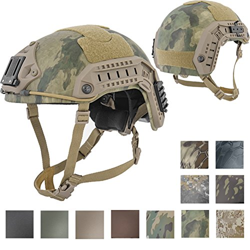Lancer Tactical LARGE - X-LARGE Industrial ABS Plastic Constructed Maritime Helmet Adjustable Crown with 20mm Side Rail Adapter Velcro padding NVG Shroud Bungee Retention (A-TACS FOLIAGE (Abs Plastic Helmet)