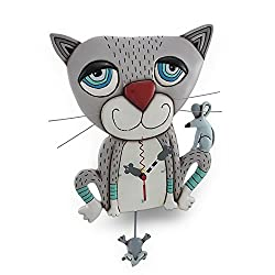 Allen Designs `Mouser` Whimsical Gray Cat Pendulum Wall Clock
