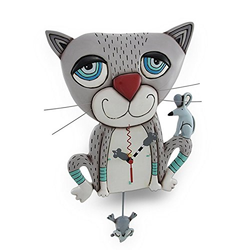 - Allen Designs Mouser Whimsical Gray Cat Pendulum Wall Clock ,One Size ,White