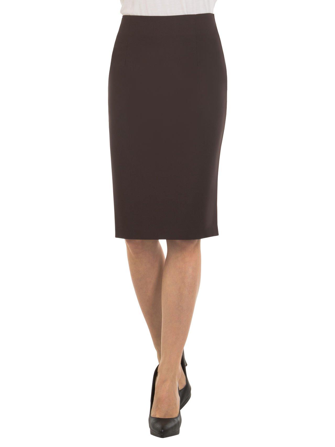 Velucci Womens High Waist Pencil Skirt - Knee High - Zipper - Back Slit, Brown-M