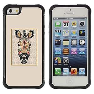 WAWU Funda Carcasa Bumper con Absorci??e Impactos y Anti-Ara??s Espalda Slim Rugged Armor -- zebra psychedelic Africa animal pattern -- Apple Iphone 5 / 5S