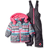 Wippette Girls Baby Girls & Toddler Insulated Snowsuit, Striped Charcoal, 24M