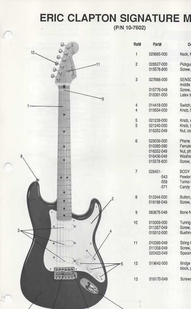 Parts List Diagram for FENDER Eric Clapton Signature Model Stratocaster  Electric Guitar (p/n 0-7602): Fender Electronics, SUNN: Amazon.com: BooksAmazon.com