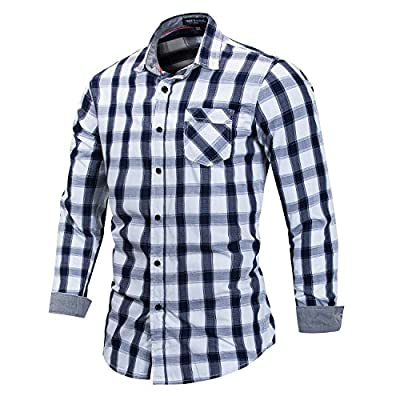FREDD MARSHALL Men's 100% Cotton Regular-Fit Long-Sleeve Plaid Shirt with Pocket