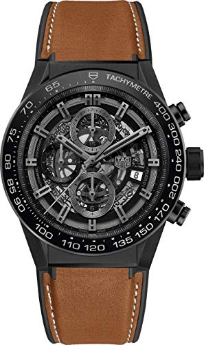 Tag Heuer Carrera Black Skeleton Dial Men's Watch on Brown Strap CAR2A91.FT6121
