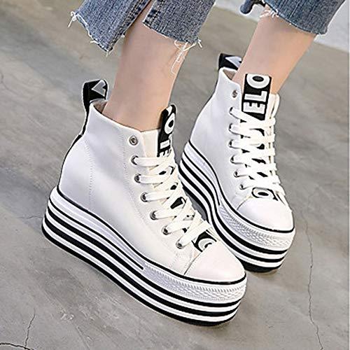 EU37 Été Rond Bout Toile Femme CN37 Chaussures Blanc Creepers UK5 US7 Noir Printemps Basket 5 Confort White TTSHOES 4qS6Iwx