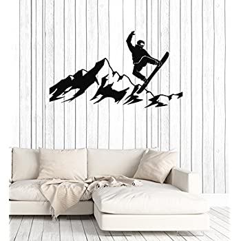 Snowboarder Vinyl Wall Decal Mountains Snowboarding Silhouette Winter Sport Stickers Mural Large Decor (ig5333)