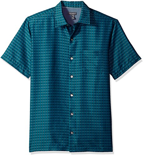 Van+Heusen+Men%27s+Printed+Rayon+Short+Sleeve+Shirt%2C+Deep+Turquoise%2FBlue%2C+X-Large