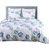 Linen_specialist Multi-Color Palm Duvet Cover Set Queen Size, Botanical Bedding Set with Tropical Palm Tree Leaves Pattern Printed for Kids Boys Girls and Lady (Multi 6, Queen)