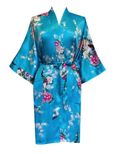 Old Shanghai Women's Kimono Short Robe - Peacock & Blossoms (Turquoise) ()