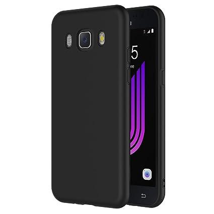 AICEK Funda Compatible Samsung Galaxy J7 2016, Negro Silicona Fundas para Galaxy J7 2016 Carcasa J710 (5,5 Pulgadas) Negro Silicona Funda Case