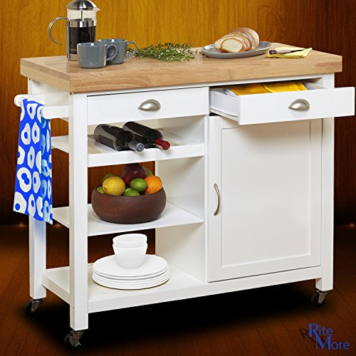 Large White Rolling Movable Kitchen Island On Wheels With