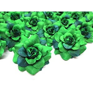 "(24) Silk Green Roses Flower Head - 1.75"" - Artificial Flowers Heads Fabric Floral Supplies Wholesale Lot for Wedding Flowers Accessories Make Bridal Hair Clips Headbands Dress 113"