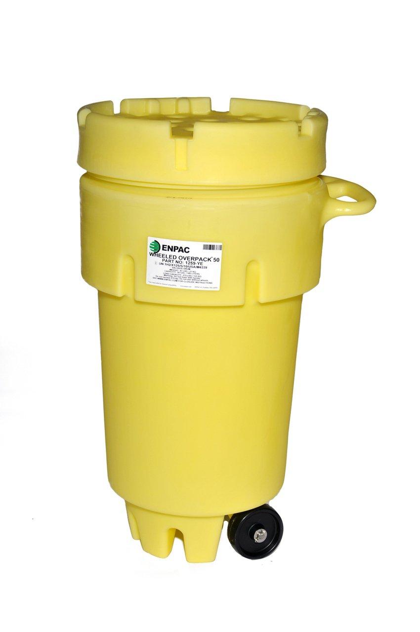 Enpac 1259-YE Wheeled Overpack Salvage Drum, 50 Gallons Spill Capacity, 24'' Top Diameter x 18-1/2'' Bottom Diameter x 36'' Height