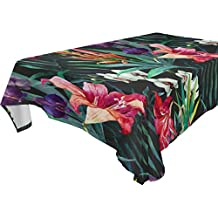 Yuihome Single Face Gorgeous Polyester Tablecloths 60 x 120 Inches Rectangle & Oblong Tropical Floral Table Top Decoration