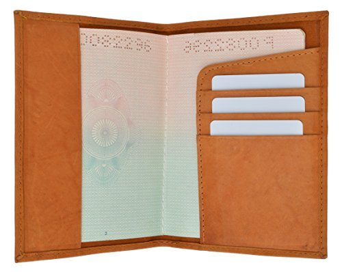 Tan Leather Travel Wallet (GENUINE LEATHER PASSPORT COVER HOLDER WALLET CASE TRAVEL 7 COLORS NEW (Tan))