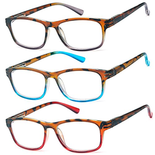 ALTEC VISION Pack of 3 Stylish Color Frame Readers Spring Hinge Reading Glasses for Women - 1.50x