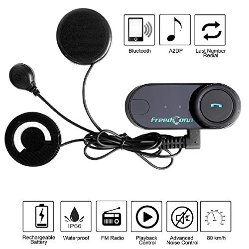 Bluetooth Headset and Intercom FreedConn T-COMVB Motorcycle Helmet Communication Headphone for Scooters/Motorbike Skiing Range-800M/2-3Riders Pairing/Black (2 Units with Soft Cable)