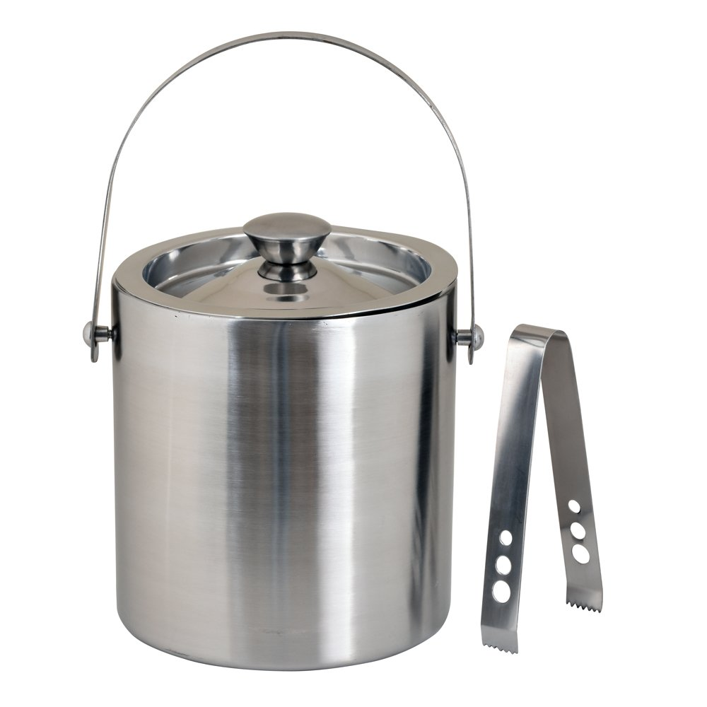 Kosma Stainless Steel Double Wall Ice Bucket with Tongs | Ice Cube Bucket - 18 x 15 cm