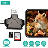 4 in 1 SD Card Reader, Enkman USB 3.0 Micro SD Card Reader Trail Camera Viewer for iPhone iPad MacBook Android, Memory Card Adapter with Lightning OTG Type C, Hunting Game Cam Photo and Video Viewer