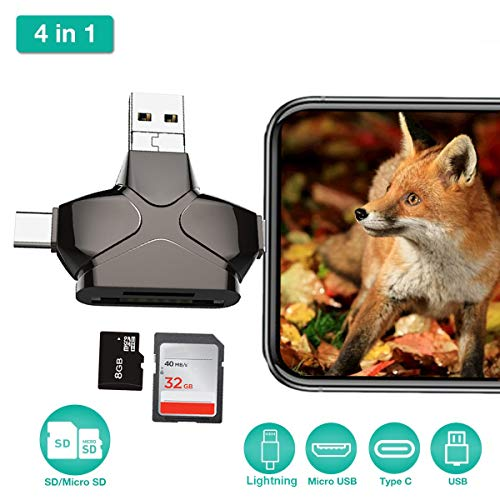 r, Enkman USB 3.0 Micro SD Card Reader Trail Camera Viewer for iPhone iPad MacBook Android, Memory Card Adapter with Lightning OTG Type C, Hunting Game Cam Photo and Video Viewer ()