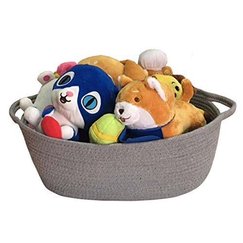 Large Rope Woven Storage Basket with Handles for Clothes,Blankets,Toys Nursery Organizer,Collapsible Storage Bin, Laundry ()