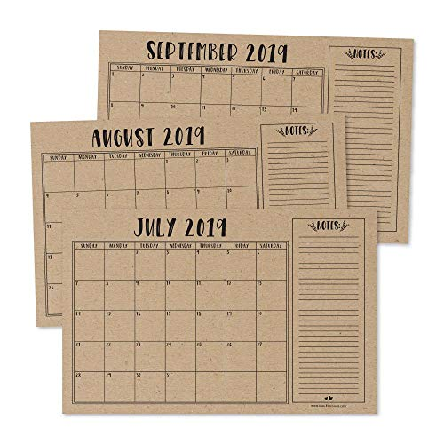 Rustic 2019-2020 Large Monthly Desk or Wall Calendar Planner, Big Giant Planning Blotter Pad, 18 Month Academic Desktop, Hanging 2-Year Date Notepad Teacher, Mom Family Home Business Office - Monthly Calendar Wall