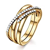 GULICX Crossover X CZ Anniversary Ring 8mm 3 Rows Yellow Gold Tone Vintage Womens Jewelry Band